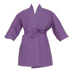 Kimono robe includes two side pockets and bi-level belt. Made of Cotton and Polyester. Kids Spa, Kids Robes, Blue Chocolate, Soft Fabrics, Pink Purple, Wrap Dress, Cotton, Shopping, Gifts