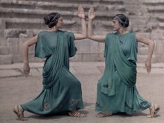 Two Actresses at Delphi Festival Adorn Costumes of Classical Greece Photographic Print