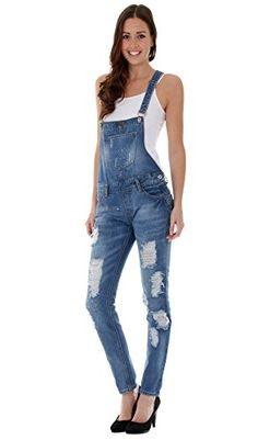 0eb619cd9 Womens Paint Splat Destroyed Denim Bib Overalls    Check this awesome  product by going to