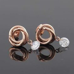 Cartier 14k Rose Gold The Tricyclic Crystal Earrings