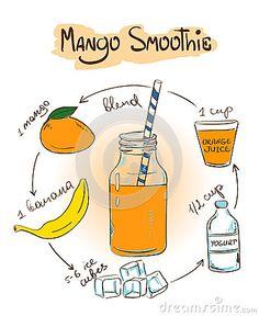 Receta del smoothie del mango del bosquejo
