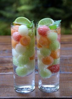 Perfect drink for summer! Use a melon baller with watermelon, cantelope, and honey dew, then freeze. You can then use them as I've in sprite, champagne, or any fruity cocktail!