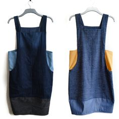 Pattern review for the Scoop Pinafore Dress by Sew Different. Learn how to make it with only four pairs of jeans to create an upcycled denim pinafore.