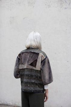 OROBORO Milena Silvano x Ace & Jig Sheepskin Patchwork Coat in Khaki
