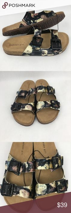 """Steve Madden Girl Floral Suede Buckle Slides New, never worn. Size 9.5. Soft and comfortable footbed. Slides are the """"Birkenstock"""" style shoe with adjustable buckles. Pretty suede floral design. Madden Girl Shoes Sandals"""