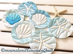 先日染めた生地をベースでの製作 今からお仕立てします #ハワイアンキルト#シェル#スターフィッシュ #海を感じる雑貨 #海イメー#手染め生地 #海イメージ #surf