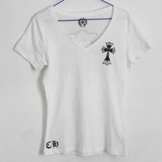 71aa1c3f5cb2 Chrome Hearts T-shirt Ladies Bordered Cross Drawn White Cheap Store