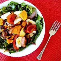 Kale and sweet potato salad with warm bacon dressing! get in my belly!