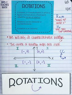 Reflections and Rotations INB Pages rotations foldable for geometry interactive notebooks Geometry Interactive Notebook, Teaching Geometry, Interactive Notebooks, Teaching Math, Teaching Tips, Seventh Grade Math, 8th Grade Math, Eighth Grade, Teaching Secondary