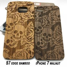 16.99$ www.jiacase.com Flowers&Skulls pattern on wood phone case for iPhone 7&Samsung galaxy #flowers #skull #wooden #phone #cover #case