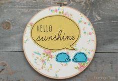 hello sunshine hedghog hoop art :)