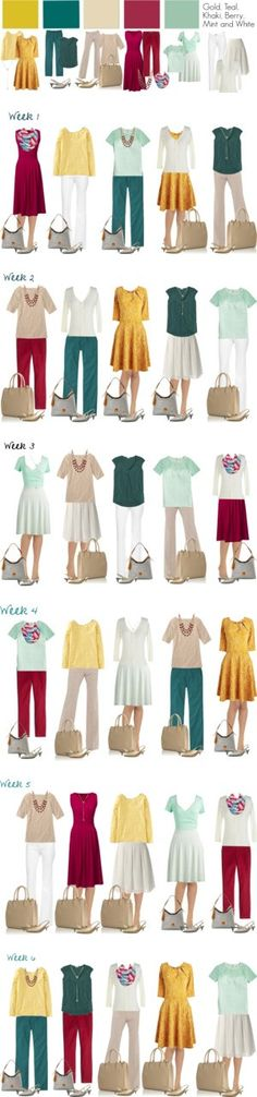 Gold & Teal Work Capsule: Six Weeks by kristin727 on Polyvore featuring мода, Lands' End, J.Crew, Boden, DL1961 Premium Denim, Effie's Heart, L.L.Bean, Lodis, Cole Haan and MINKPINK