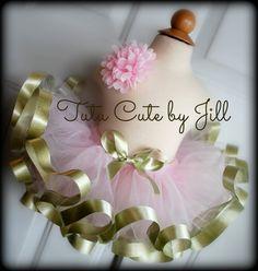 Sewn Baby Pink Tutu With Gold Metallic Ribbon Trim. Tutu Cute By Jill on Etsy