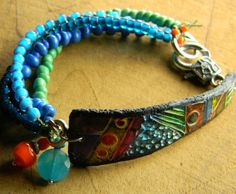 Colorful Abstract Art Bracelet Polymer Clay Black Blue Orange Contemporary Tribal One of a Kind