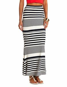 Back Slit Striped Maxi Skirt: Charlotte Russe