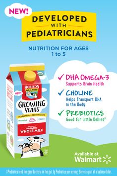 Meet Horizon® Growing Years™ organic whole milk! We partnered with pediatricians to identify key nutrients for growing kids, ages 1 to Healthy Diet Recipes, Baby Food Recipes, Cooking Recipes, The China Study, Cider Vinegar Weightloss, Sharpie Crafts, Buttermilk Pancakes, Fodmap Diet, Writing Jobs
