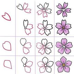 Doodles How to draw a cherryblossom tutorial anleitung Sketchbook Sketchnotes visual vocabulary visuelles wörterbuch scribble Sketch Inspiration Idea Ideen How to dr. Flower Step By Step, Step By Step Drawing, How To Draw Flowers Step By Step, Sketch Inspiration, Drawing Lessons, Drawing Tips, Drawing Ideas, Drawing Art, Easy Drawing Patterns