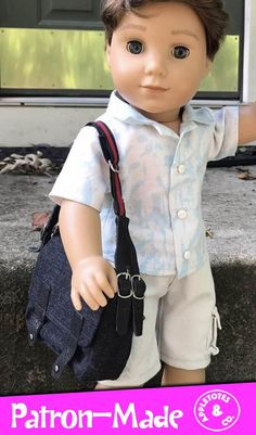 Sewing Doll Clothes, Sewing Dolls, Girl Doll Clothes, Girl Dolls, Ag Dolls, Doll Sewing Patterns, Bag Patterns To Sew, Cool Messenger Bags, American Boy Doll