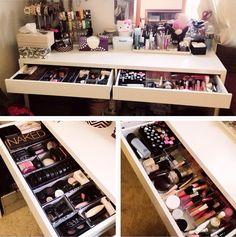 2 drawer makeup vanity - organization
