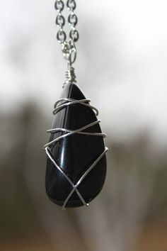 Black Obsidian stainless steel wire wrapped by CrystalAffinity
