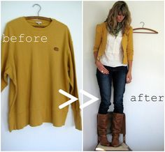 eek this looks more challenging than my sewing skill level. but i love it - XL men's sweatshirt into a comfy cardigan~ this is a genius. i'll never look at a thrift store the same way now :) Sewing Hacks, Sewing Crafts, Sewing Projects, Diy Crafts, Diy Projects, Diy Clothing, Sewing Clothes, Recycled Clothing, Men Clothes