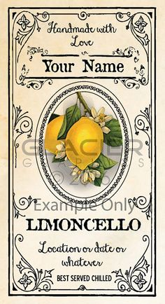 Blank Limoncello Labels You Edit Limoncello Canning Labels Limoncello Recipe, Homemade Limoncello, Printable Recipe Cards, Printable Labels, Printables, Canning Labels, Canning Recipes, Organizing Labels, Wedding Tags