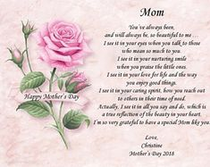 Mother's Day Poem,Personalized Poems,Poem for Mother,Poems for Mom,Pink Roses,Poem on Art,Mother's Day,Personalized Poem,Personalized Prints