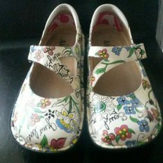 """Price reduced!Alegria shoes Day 365 Slightly used """"Grow Love"""" """"Sew Hope"""" shoes! Cute as can be!! Alegria  Shoes"""