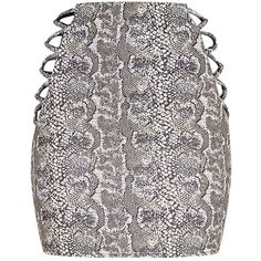 Felisa Stone Snake Print Mesh Insert Mini Skirt ($40) ❤ liked on Polyvore featuring skirts, mini skirts, stone skirting, mini skirt, python skirt, snake print skirt and short skirts