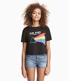 Camiseta corta y holgada en punto de algodón.