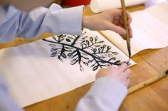 : Lesson idea: Sumi-E painting Middle School Art, Art School, School Stuff, Sumi E Painting, Art Lessons, Art Projects, Create, Homeschooling, Pray