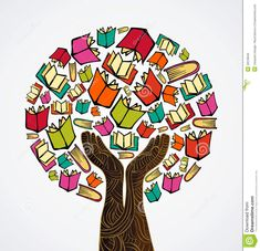 Illustration about Global education concept tree hand books. Vector file layered for easy manipulation and custom coloring. Illustration of idea, background, concept - 32018646 I Love Books, My Books, Library Posters, Book Tree, School Murals, Reading Art, Art Drawings For Kids, Book Tattoo, School Decorations