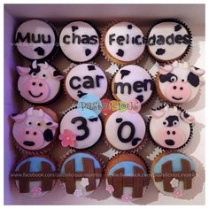 #pastelicious #cupcakes #cow #birthday #panques