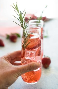 sparkling strawberry sangria with rosemary and rose wine
