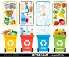 Recycle clipart Recycle graphics Recycle Bin Recycling guide How to recycle clipart Earth Day Save the Earth Digital Clip Art Trash clipart Earth Day Projects, Earth Day Crafts, Art Projects, Recycling Activities For Kids, Recycling Bins, Recycled Crafts Kids, Crafts For Kids, Recycled Art, Paper Clip Art