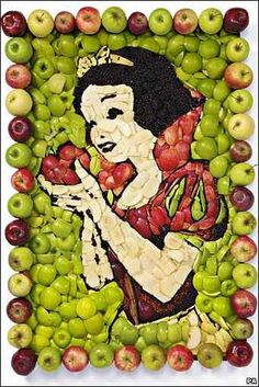 And I thought I could paint. -Mommy Frog [Food artist Prudence State recreated scenes from the Disney movie Snow White using fourteen different types of apples.]