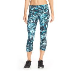 Zella 'Live In - Inspire' Slim Fit Capris ($31) ❤ liked on Polyvore featuring activewear, activewear pants, blue blink luxe marble print, zella, zella sportswear and zella activewear