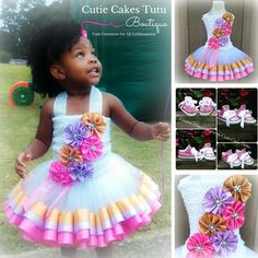 Pink Purple and Gold Ribbon Trimmed 2-piece Tutu Dress w/ Matching Bling Shoes (Optional) by CutieCakesTutus on Etsy