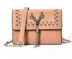 Women PU Leather Top-Handle Crossbody Bag Ladies Evening HandBag Deer Rivet Messenger Shoulder Bag