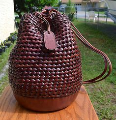 Vintage Etienne Aigner Woven Leather Sling Shoulder Bucket Bag Handbag | Clothing, Shoes & Accessories, Vintage, Vintage Accessories | eBay!