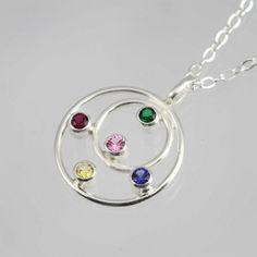 Mother Necklace Double Circle w5 Stones 16 by LaineBenthalldesigns, $110.00