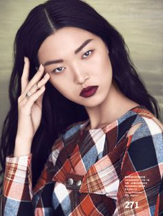 Tian Yi is Pretty in Plaid for Vogue Taiwan Feature by Yossi Michaeli