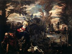 Tintoretto, Jacopo Robusti . (b. 1518, Venezia, d. 1594, Venezia). . The Flight into Egypt. 1582-87. Oil on canvas, 422 x 580 cm. Scuola Grande di San Rocco, Venice. . As so often with Tintoretto, this painting is matched with the utmost exactitude to its situation on the ground floor Sala Inferiore of the Scuola Grande di San Rocco: in the arching branch on the left, the curve of the palm fronds on the right, and the roughly circular view of the sky at the centre, the painter echoes the…