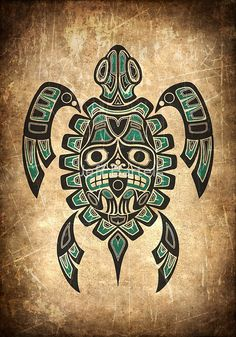 Teal Blue and Black Haida Spirit Sea Turtle by Jeff Bartels