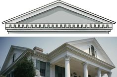 The Toothy Grin of Classical Architecture: Illustration of dentil molding and photograph of neoclassical antebellum plantation house with dentil molding Classical Architecture, Architecture Details, Decks, Dentil Moulding, Cornice Moulding, Classic House Design, House Trim, Southern House Plans, Plantation Homes