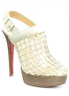 White Woven Pattern Sheepskin Womens Sheepskin Shoes - Heels - Shoes