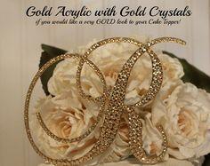 Gold Wedding Cake Topper, Monogram Gold Cake Topper, Swarovski Crystal, Gold bling, A B C D E F G H I J K L M N O P Q R S T U V W X Y Z