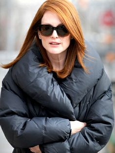 "Julianne Moore on the set of ""Still Alice"" in NYC on March 4, 2014."
