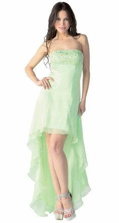 7c027dec84 Green High Low Homecoming Dress 2 Tone Chiffon Strapless Beaded Top  147.99  High Low Bridesmaid Dresses