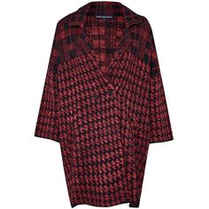 French Connection Dogtooth Oversized Coatigan (220 CAD) ❤ liked on Polyvore featuring tops, cardigans, red, women, red v neck cardigan, oversized cardigan, patterned cardigan, red cardigan jacket and leather top